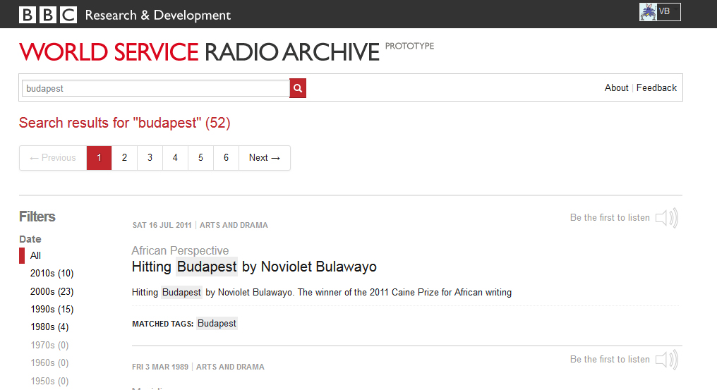 Trying out the BBC World Service Radio Archive Prototype